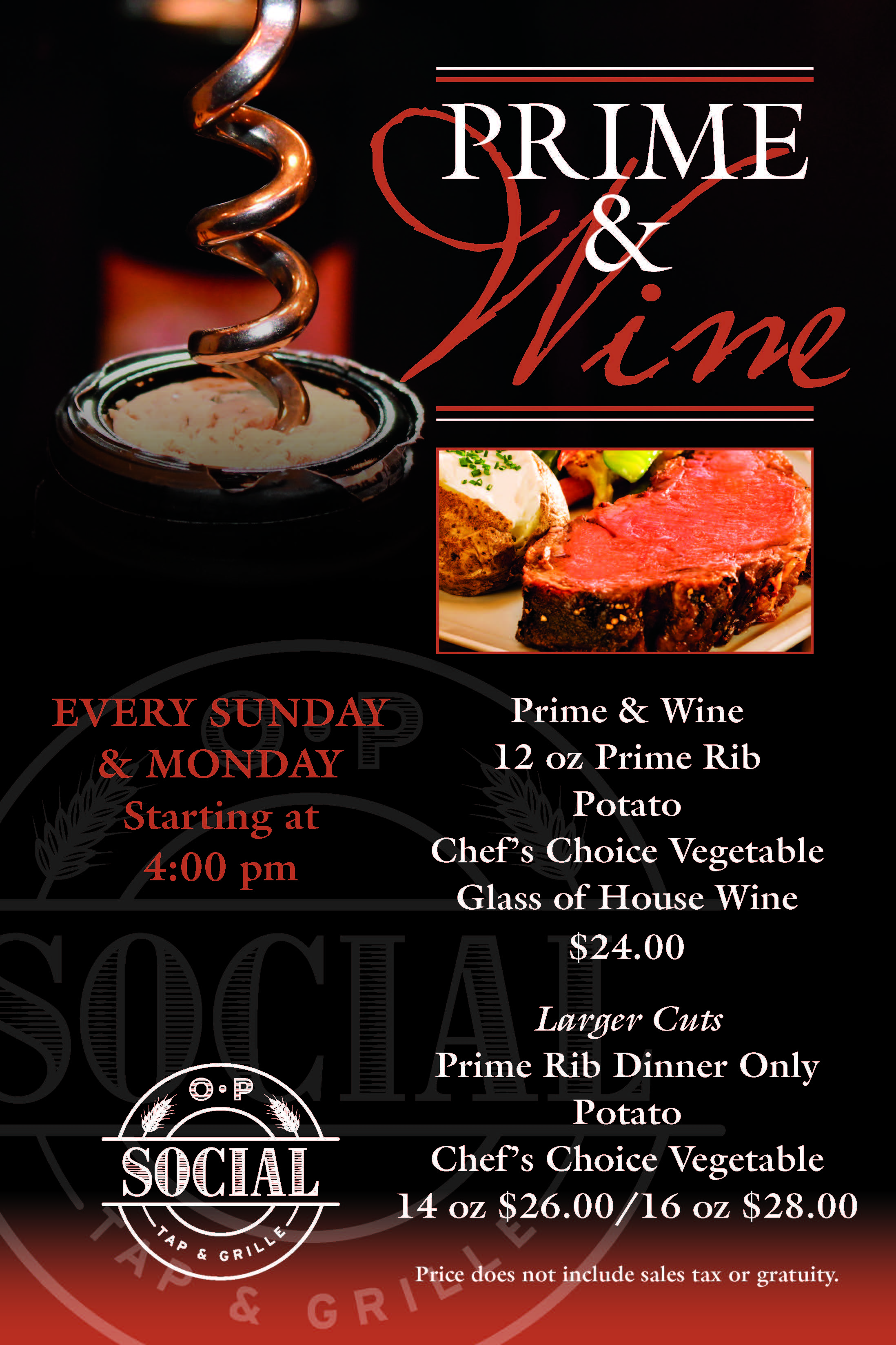 Prime and Wine every Sunday and Monday